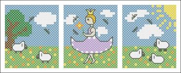 Borduurpatroon prinsesje drieluik FreeBee download