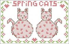 Borduurpatroon Spring Cats FreeBee download