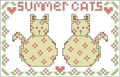 Borduurpatroon Summer Cats FreeBee download