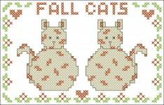 Borduurpatroon Fall Cats FreeBee download