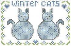 Borduurpatroon Winter Cats FreeBee download