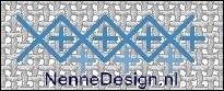 borduursteken grote kruissteken met kleine rechte kruissteken voorbeeld