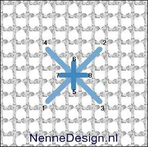borduursteken kruissteek met staande-kruissteek borduren