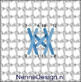 borduursteken langwerpige kruissteken met kleine kruissteken borduren