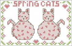 Borduurpatroon Spring Cats FreeBee download