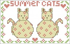Borduurpatroon Summer Cats FreeBee download