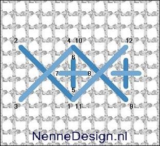 grote kruissteek met kleine rechte kruissteek borduursteken borduren